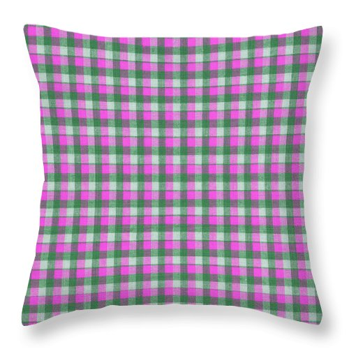 Pattern Throw Pillow featuring the photograph Pink Green And White Plaid Pattern Cloth Background by Keith Webber Jr