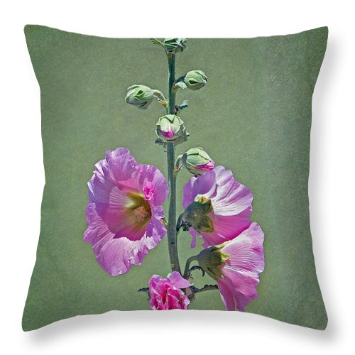 Hollyhock Throw Pillow featuring the photograph Pink Hollyhocks by Nikolyn McDonald