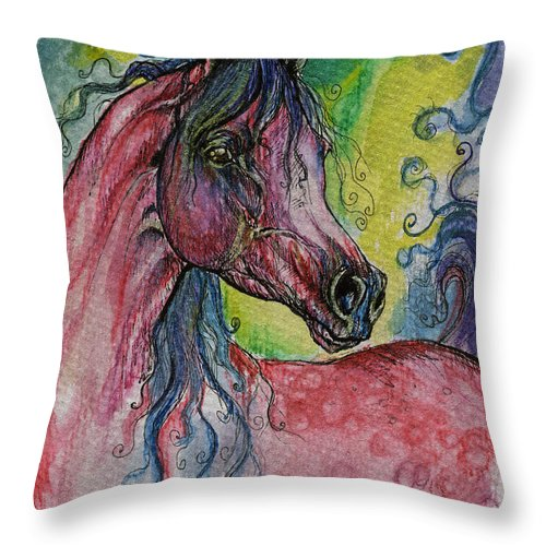 Fairytale Throw Pillow featuring the painting Pink Horse With Blue Mane by Angel Ciesniarska