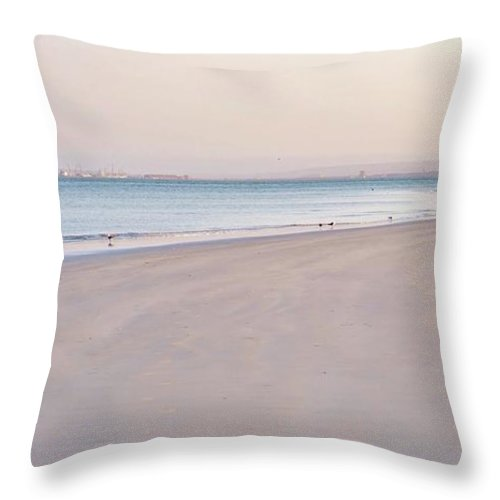 Langebaan Lagoon; Beach; Seascape; South Africa; West Coast; Atlantic Ocean; Blue; Sand; Background; Decorative; Water; Sea; Sky; Sunrise; Landscape; Throw Pillow featuring the photograph Pink Hour... by Werner Lehmann