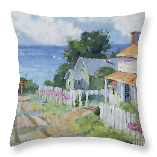Impressionist Throw Pillow featuring the painting Pink Lady Lilies By The Sea By Joyce Hicks by Joyce Hicks