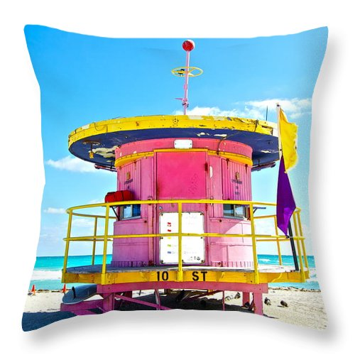 Miami Throw Pillow featuring the photograph Pink Lifeguard Post by Galexa Ch
