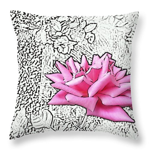 Rose Throw Pillow featuring the digital art Pink					 by Lovina Wright