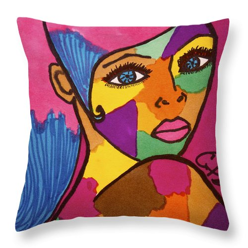 Colors Throw Pillow featuring the drawing Pink Penny by Chrissy Pena