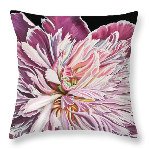 Flower Throw Pillow featuring the painting Pink Peony by Jane Girardot
