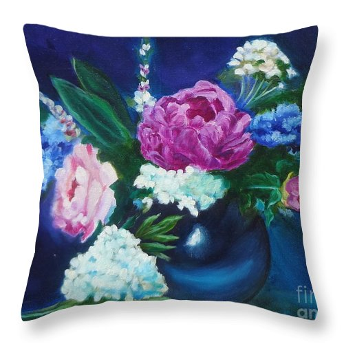 Pink Peony Canvas Print Throw Pillow featuring the painting Pink Peony by Jenny Lee