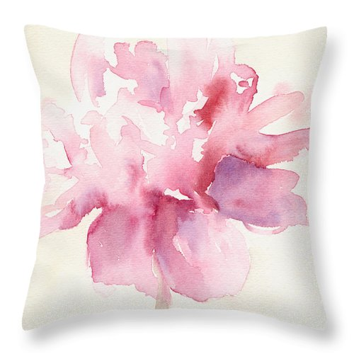 Floral Throw Pillow featuring the painting Pink Peony Watercolor Paintings of Flowers by Beverly Brown
