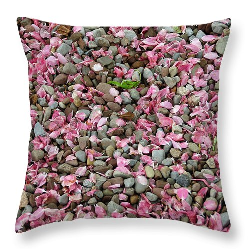 Stone Throw Pillow featuring the photograph Pink Petals On Stones by Aimee L Maher ALM GALLERY
