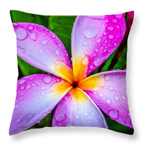Pink Plumeria Throw Pillow featuring the photograph Pink Plumeria by TK Goforth