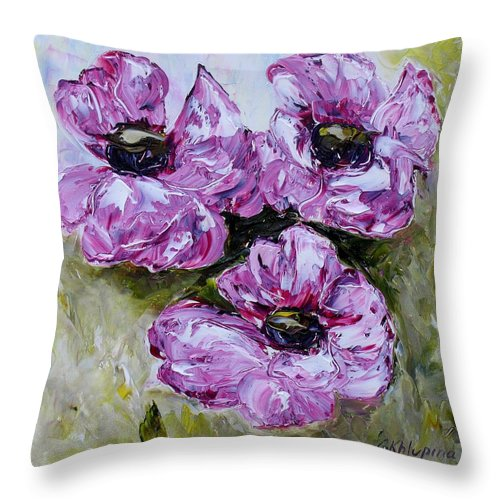 Flowers Throw Pillow featuring the painting Pink Poppies by Galina Khlupina