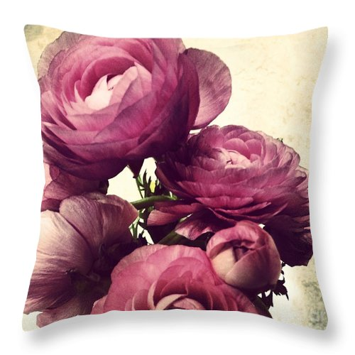 Ranunculus Throw Pillow featuring the photograph Pink Ranunculus by Heather L Wright
