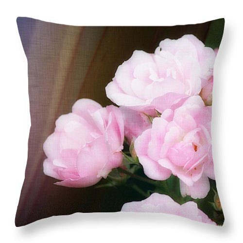 Rose Throw Pillow featuring the photograph Pink Rose Cluster by Sharon Johnston