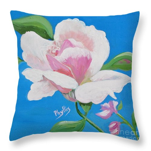 Pink Rose Throw Pillow featuring the painting Pink Rose In Paint by Phyllis Kaltenbach