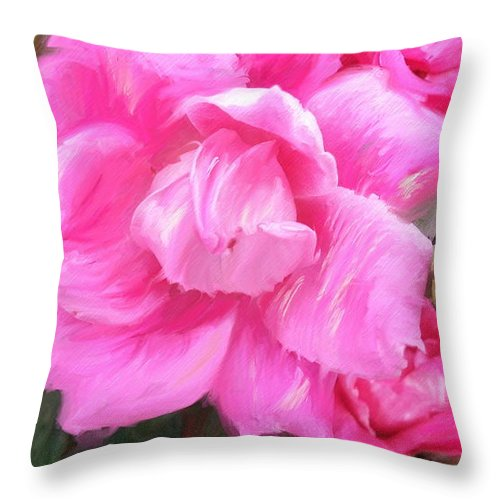 Peggy Franz Photography Throw Pillow featuring the photograph Pink Rose Painting by Peggy Franz