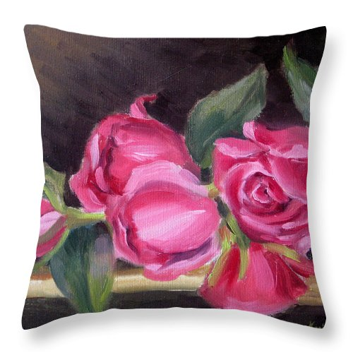 Roses Throw Pillow featuring the painting Pink Roses by Karin Leonard