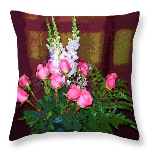 Still Life Throw Pillow featuring the photograph Pink Roses by Soheila Madani
