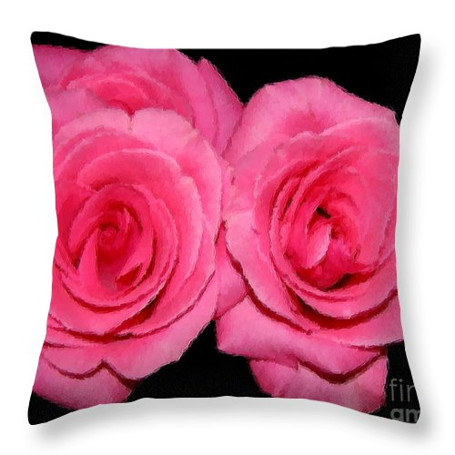 Roses Throw Pillow featuring the photograph Pink Roses With Brush Stroke Effects by Rose Santuci-Sofranko