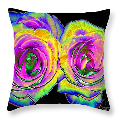 Roses Throw Pillow featuring the photograph Pink Roses With Colored Foil Effects by Rose Santuci-Sofranko