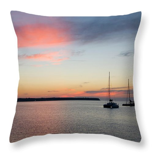 Scenics Throw Pillow featuring the photograph Pink Sky After Sunset, Oia, Santorini by David C Tomlinson