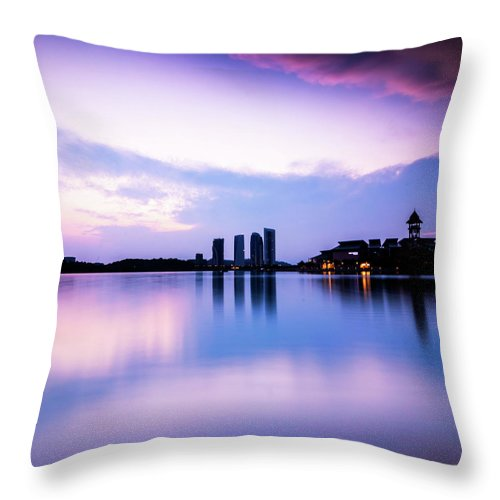 Tranquility Throw Pillow featuring the photograph Pink Sunrise by Azirull Amin Aripin