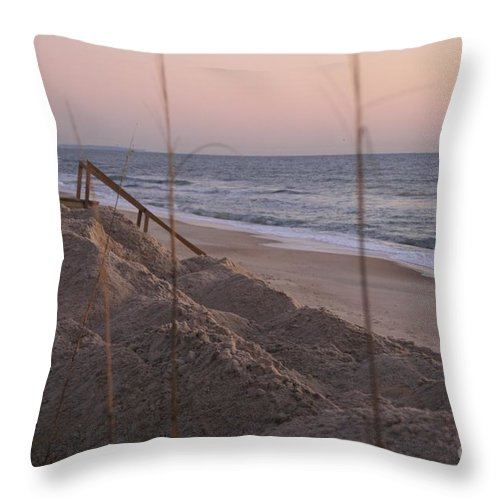 Pink Throw Pillow featuring the photograph Pink Sunrise on the Beach by Nadine Rippelmeyer