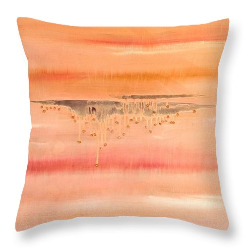 Liquid Pink Throw Pillow featuring the painting Pink Tears by Alexandra Vaczi