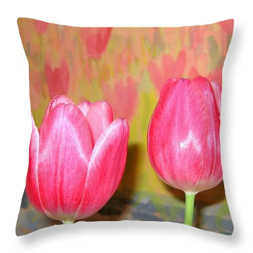Pink Tulips Throw Pillow featuring the photograph Pink Tulips by Will Borden