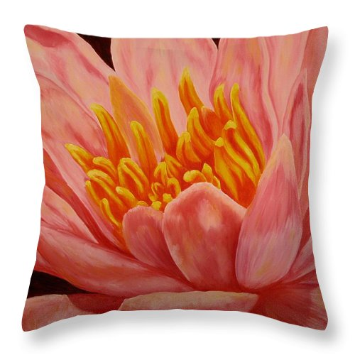 Oil Throw Pillow featuring the painting Pink Waterlily by Darla Brock