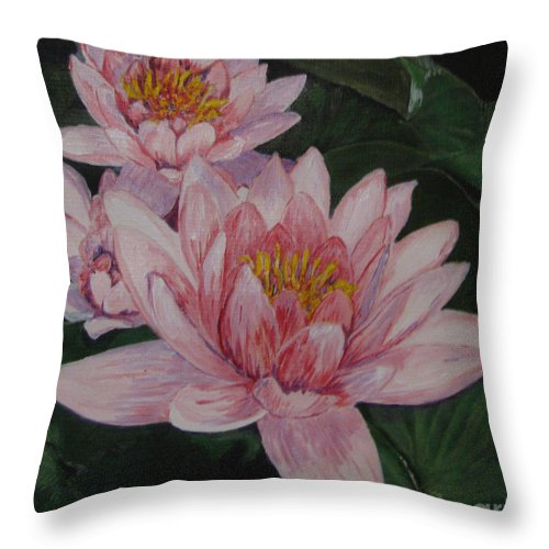 Flower Throw Pillow featuring the painting Pink Waterlily by Nancie Johnson