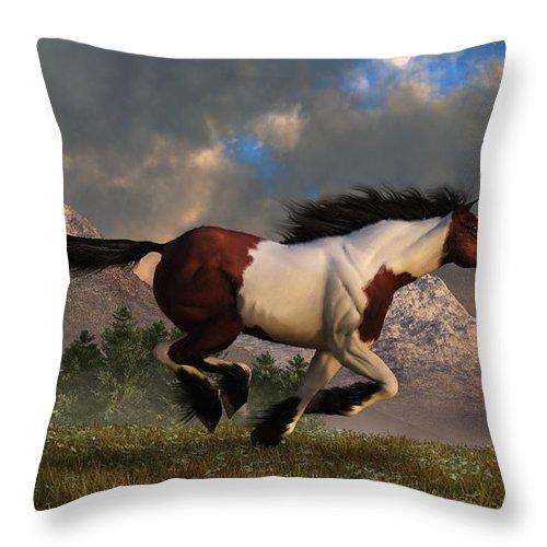 Hidalgo Throw Pillow featuring the digital art Pinto Mustang Galloping by Daniel Eskridge