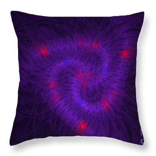 Throw Pillow featuring the digital art Pinwheel Fractaling Around by Melissa Messick