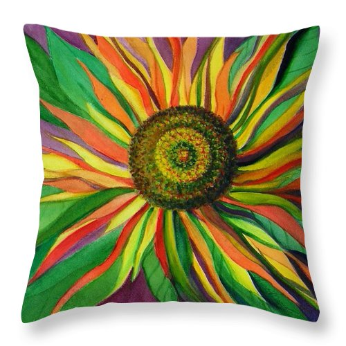 Sunflower Throw Pillow featuring the painting Pinwheel by Laura Nance