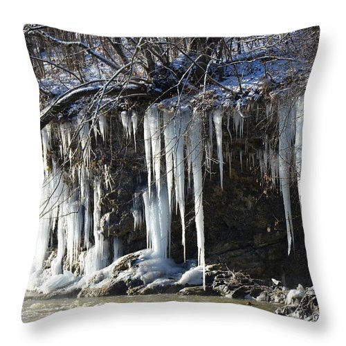 Pipe Creek Throw Pillow featuring the photograph Pipecreek Icicles by Regine Brindle