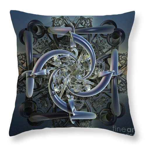 Incendia Throw Pillow featuring the mixed media Pipes In Blue by Deborah Benoit
