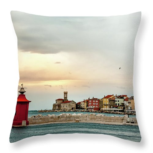Tranquility Throw Pillow featuring the photograph Piran Slovenia by Digital Image