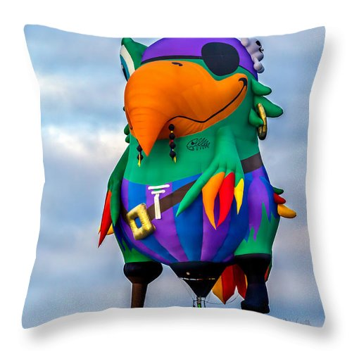 Pirate Parrot Throw Pillow featuring the photograph Pirate Parrot Pegleg Pete by Bob Orsillo