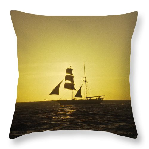 Pirates Throw Pillow featuring the photograph Pirates At Sea - Caribbean by Douglas Barnett