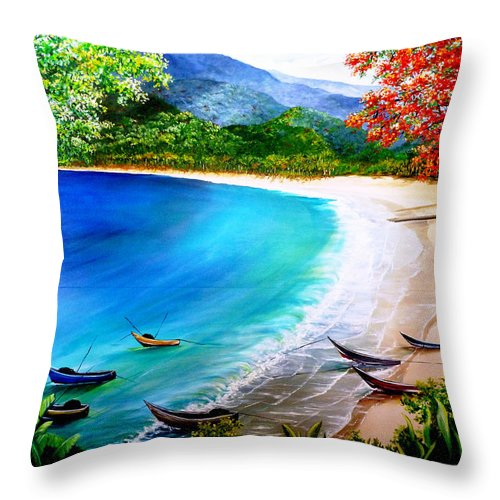 Fishing Boats Throw Pillow featuring the painting Pirogues At Rest by Karin Dawn Kelshall- Best