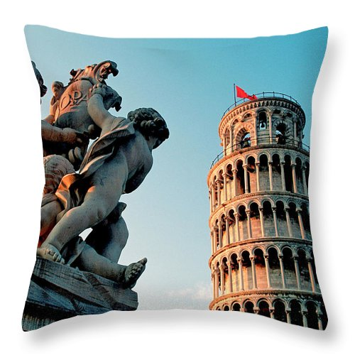 Statue Throw Pillow featuring the photograph Pisa, Leaning Tower, Tuscany, Italy by Hans-peter Merten