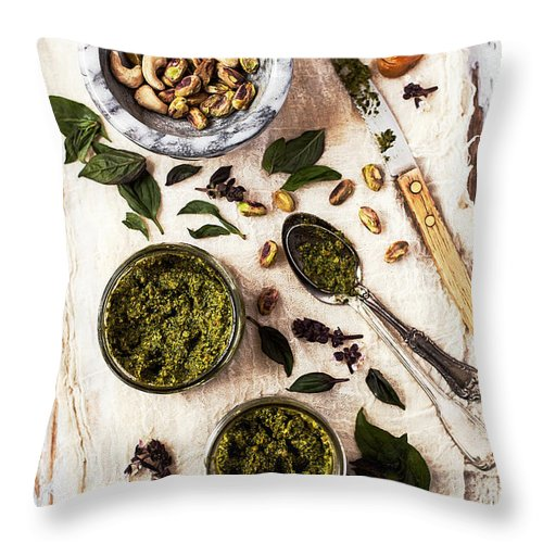 San Francisco Throw Pillow featuring the photograph Pistachio Pesto With Mortar, Jars And by One Girl In The Kitchen