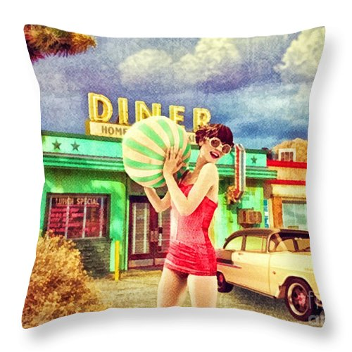 Pit Stop Throw Pillow featuring the digital art Pit Stop by Mo T