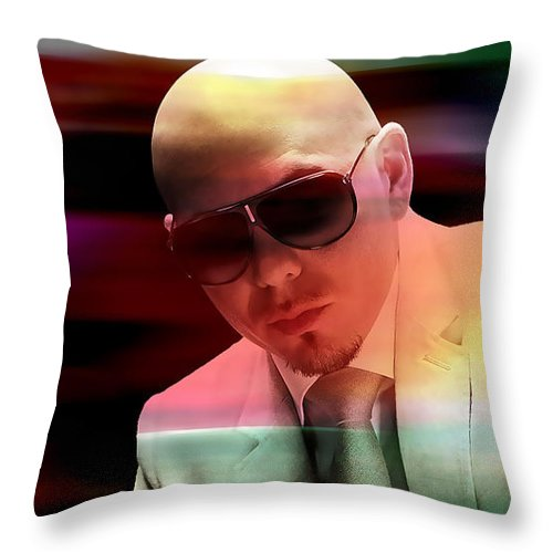 Pitbull Throw Pillow featuring the mixed media Pitbull And Kesha Painting by Marvin Blaine