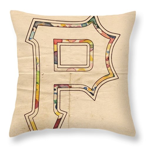 Pittsburgh Pirates Throw Pillow featuring the painting Pittsburgh Pirates Logo Art by Florian Rodarte