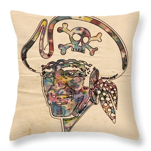 Pittsburgh Pirates Throw Pillow featuring the painting Pittsburgh Pirates Logo Vintage by Florian Rodarte