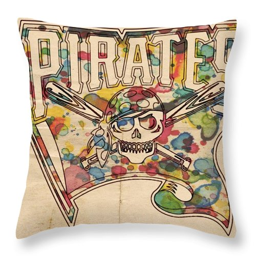 Pittsburgh Pirates Throw Pillow featuring the painting Pittsburgh Pirates Poster Art by Florian Rodarte