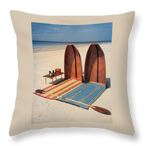 Accessories Throw Pillow featuring the photograph Pixie Collapsible Boat On The Beach by Lois and Joe Steinmetz