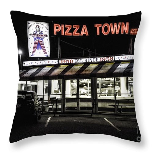 New Jersey Throw Pillow featuring the photograph Pizza Town by Jerry Fornarotto