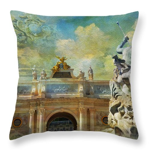 Western Ghats Throw Pillow featuring the painting Place Stanislas Place De La Carriere And Place Dalliance In Nancy by Catf