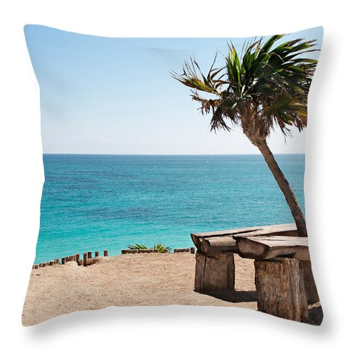 Bench Throw Pillow featuring the photograph Place To Relax by Jo Ann Snover