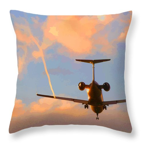Plane Throw Pillow featuring the digital art Plane Landing by Lesley DeHaan